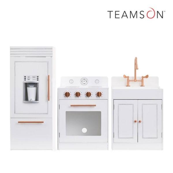 Teamson 法式巴黎木製廚房玩具|廚具組(玫瑰金白)【麗兒采家】