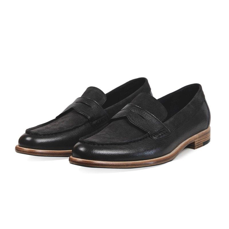 Sweet Villians M1205 經典簡約真皮尖頭樂福鞋 深灰色