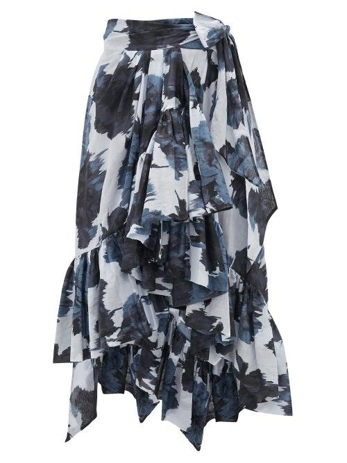 Alexandre Vauthier - Ruffled Tie-waist Floral-print Cotton Midi Skirt - Womens - Navy Print