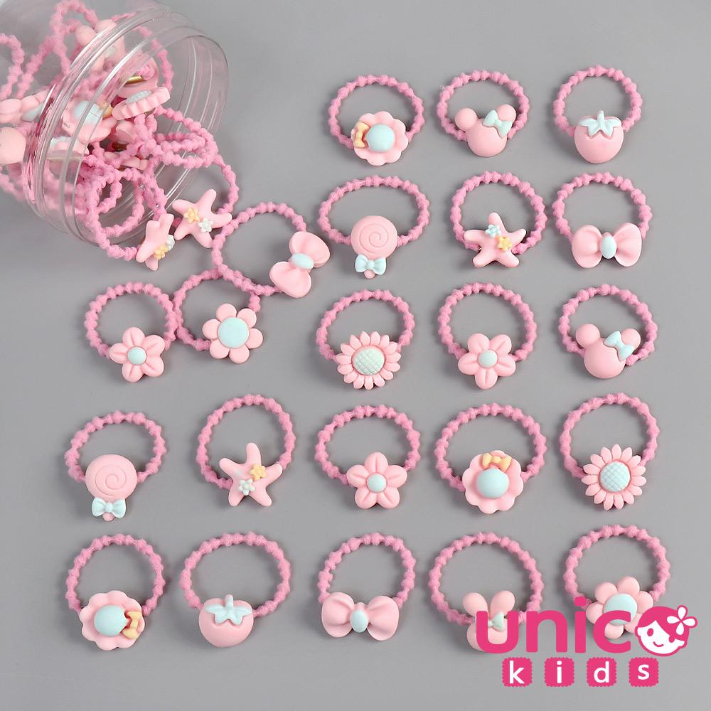UNICO 兒童少髮量甜到心坎裡40條多款樣式髮圈/髮繩罐裝-粉色款