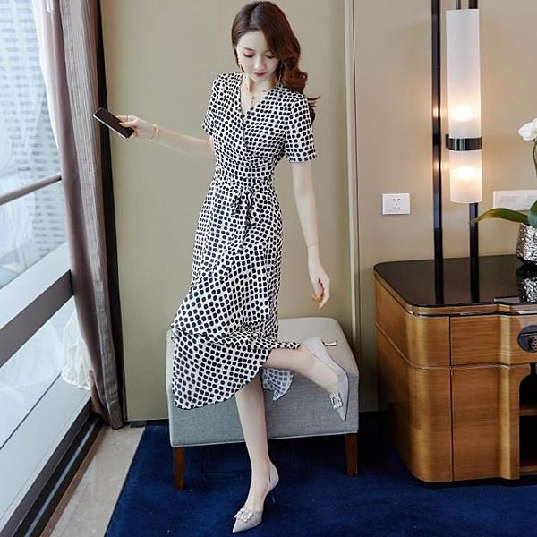 女神衣波點雪紡連身裙2021新款女夏法式復古長裙收腰顯瘦氣質女神范衣服LX嬡孕哺 618購物