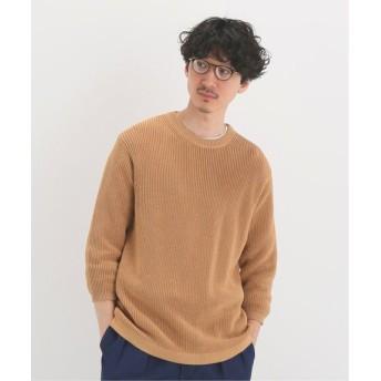 EDIFICE レーヨンペーパー 7分袖クルーネックニット ベージュ L