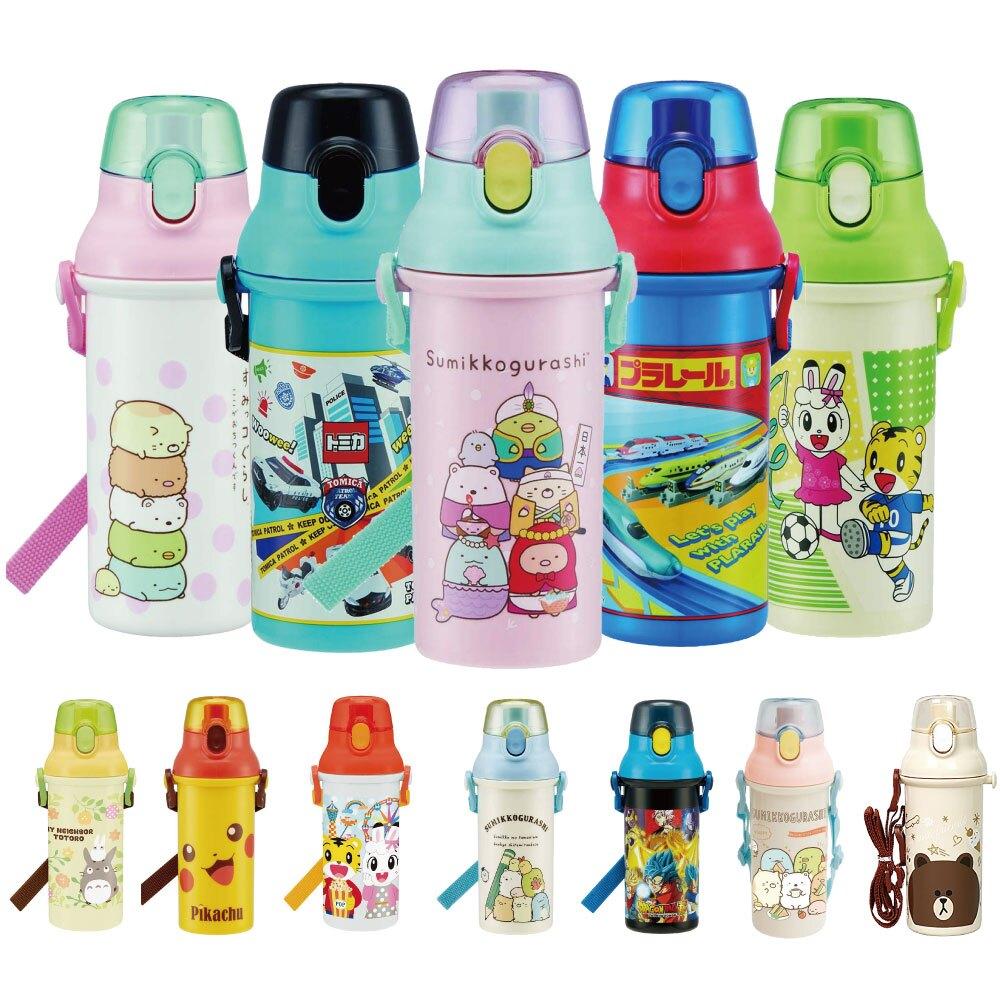 日本製SKATER直飲水壺兒童水壺亞洲卡通巧虎島兔龍貓豆豆龍小學生上學用學校用480ML