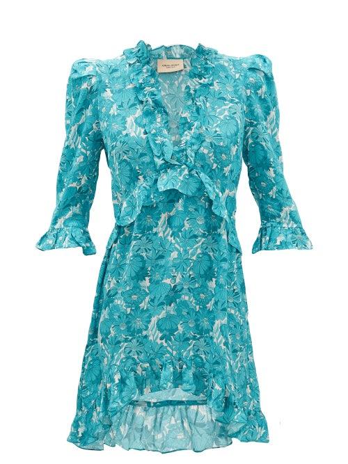 Adriana Degreas - Ruffled Floral-print Silk Mini Dress - Womens - Blue Print
