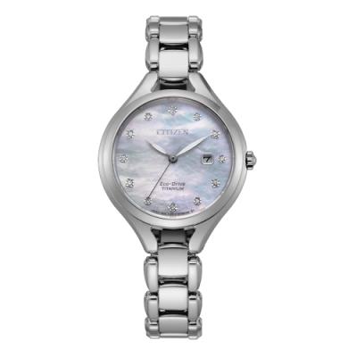 CITIZEN LADY S光動能鈦金屬閃耀貝殼面腕錶(EW2560-86D)30mm