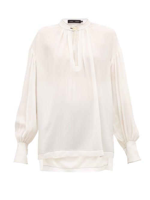 Proenza Schouler - Buttoned-keyhole Silk-georgette Blouse - Womens - Ivory