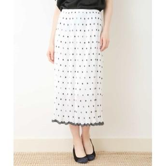 タラジャーモン 刺繍プリーツスカート レディース ホワイト L 【Tara Jarmon】