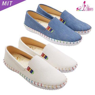 休閒鞋【CM日韓鞋館】【239-6188】MIT彩虹縫線素面休閒懶人鞋.白/藍