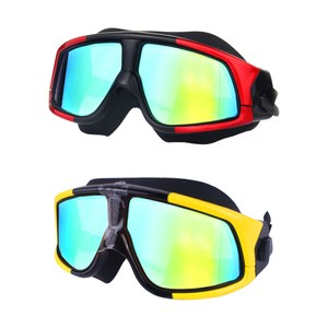 【COMET】電鍍平光超大鏡框防水防霧成人泳鏡/2入(YY-6621)紅黑色