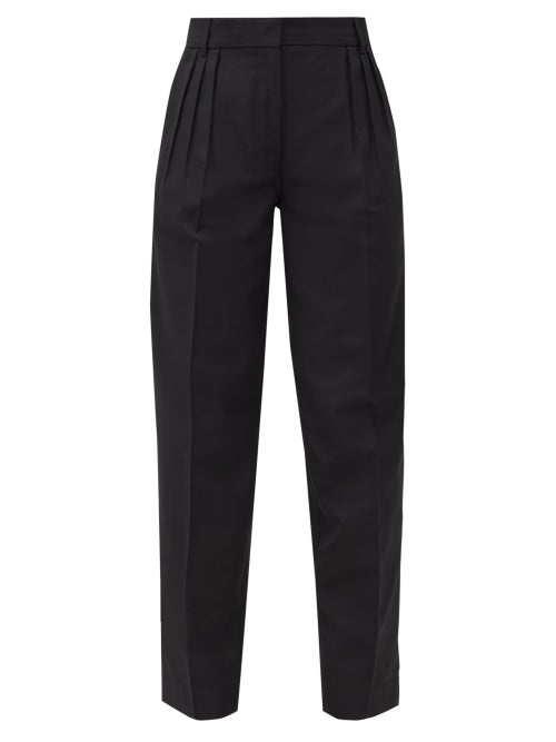 Acne Studios - Pana Pleated Grain-de-poudre Trousers - Womens - Black