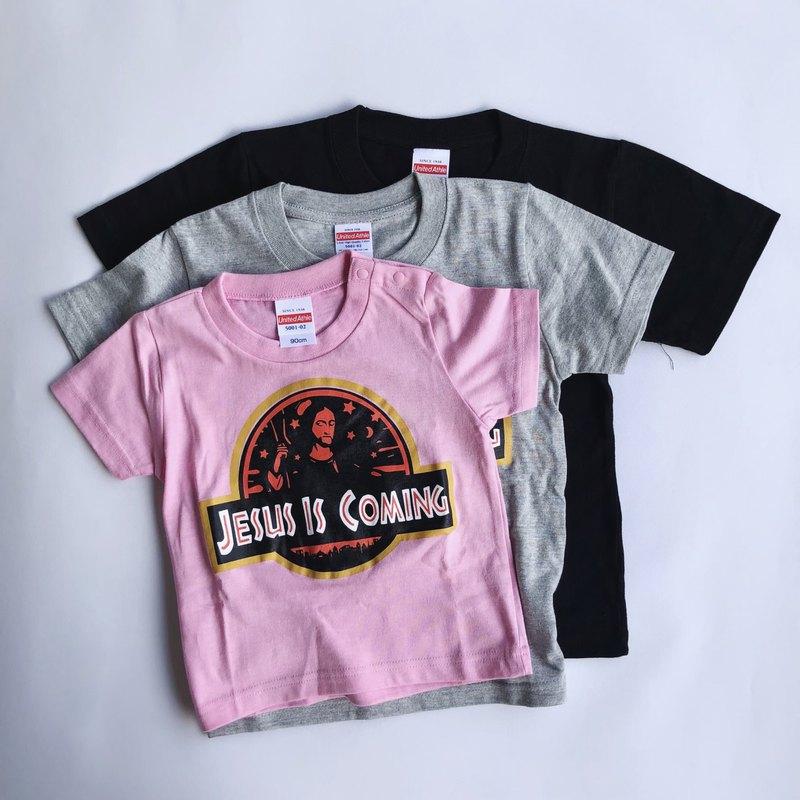 小孩款 有趣聖經 翻玩 t-shirt 侏羅紀耶穌 兒童 小朋友短袖