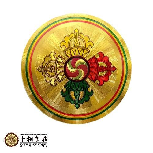 (格林)十相自在 藏傳普巴金剛杵 金箔密宗塑膠貼紙 直徑5.5cm圓形貼紙