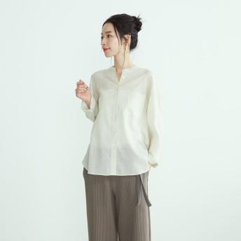 コムサイズム COMME CA ISM 《コットンリネン》 バンドカラー シアーシャツ (ホワイト)