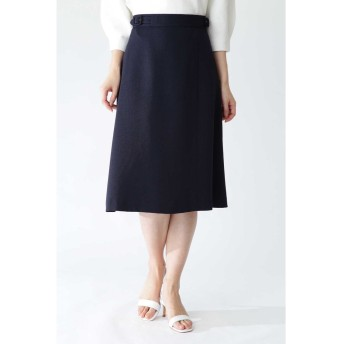 ◆[ウォッシャブル]リネンライクツイルフレアーラップスカート ネイビー