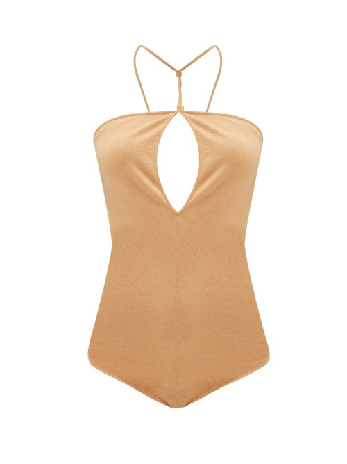 Bottega Veneta - Halterneck Cut-out Cashmere-blend Bodysuit - Womens - Camel