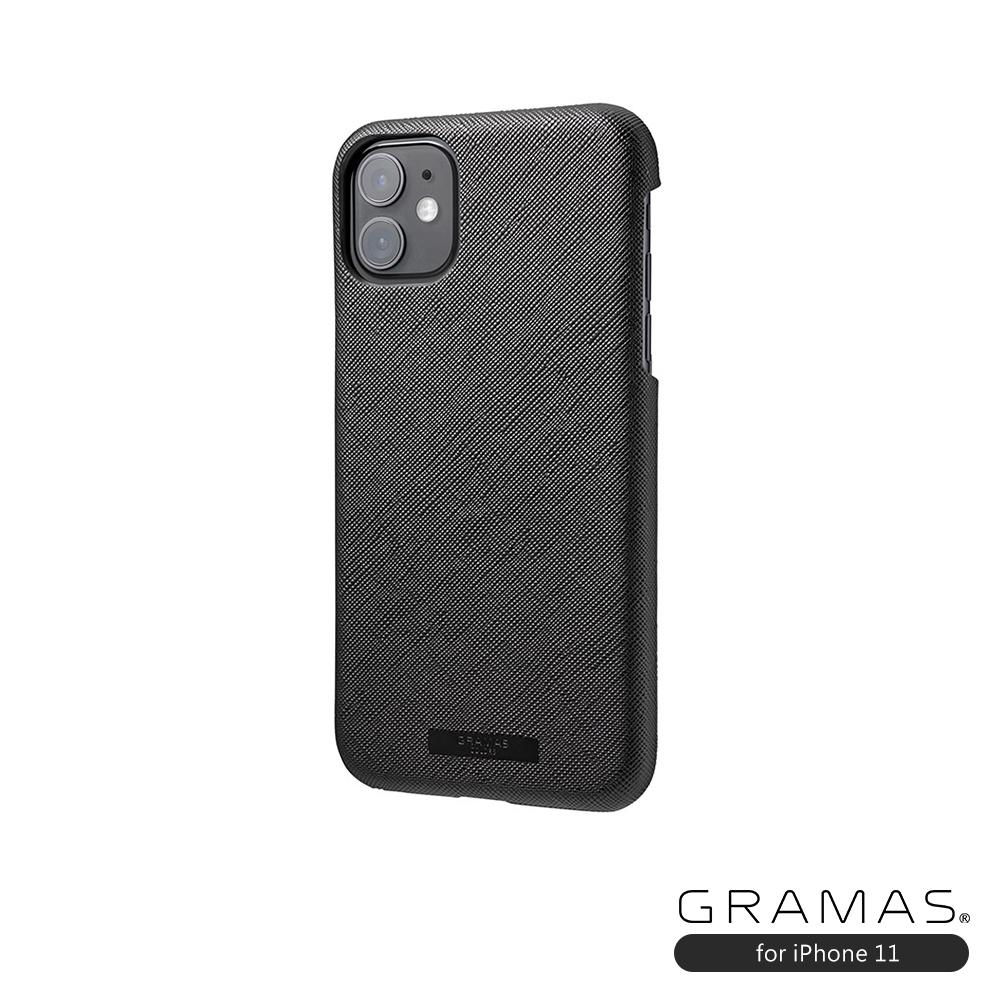 GRAMAS 東京職人工藝iPhone 11 (6.1吋)專用 極致輕量背蓋式皮革手機殼-EURO系列(黑)