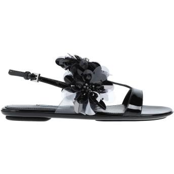 《セール開催中》PRADA レディース サンダル ブラック 36.5 革 / 紡績繊維