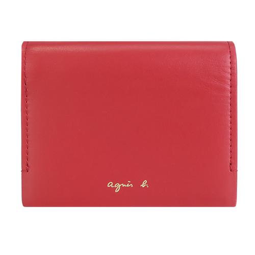 agnes b.燙金LOGO三折皮革短夾-紅