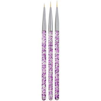 dailymall プラスチック ネイル筆 人気 ネイルブラシ 極細 ネイルペン キャップ付き ペイントブラシ 3個入り 全2色 - 紫の