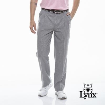 【Lynx Golf】男款歐洲進口布料伸縮腰頭小千鳥紋雙折西裝長褲-灰色
