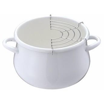 売れてます!パール金属 プチクック ホーロー 天ぷら 鍋 16cm ホワイト HB-1679