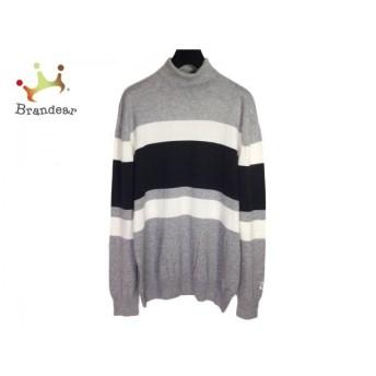 ニジュウサンク 23区 長袖セーター サイズLL メンズ グレー×黒×白 ボーダー/GOLF 新着 20200311