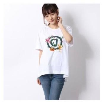 デシグアル Desigual Tシャツ半袖 TSHIRT OVERSIZE GARDENS LOGO (ホワイト)