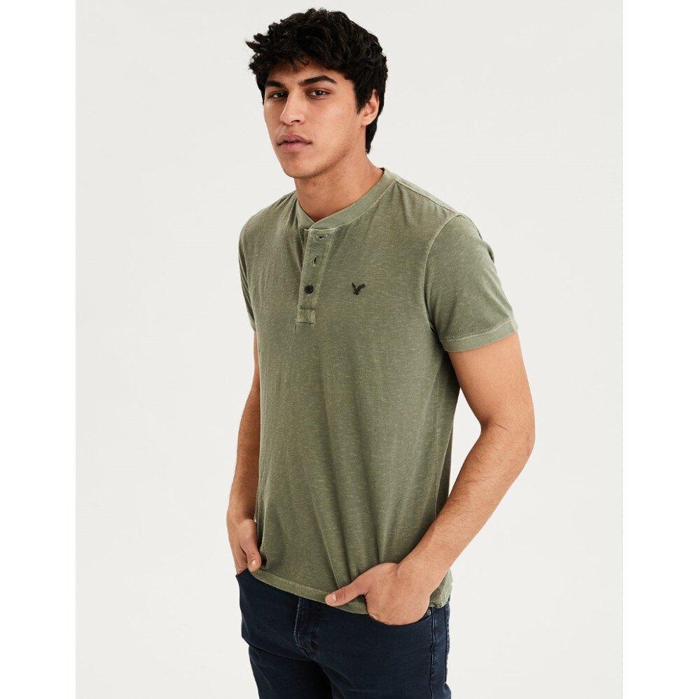 American Eagle 老鷹 T恤 男裝 短袖上衣 短T-Shirt 亨利領 AE9764 綠色AE(現貨)
