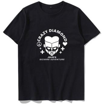 ジョジョの奇妙な冒険T-シャツ,100%コットン半袖 アニメプリントショート スリーブ ティー(マルチ-色オプション)男女兼用-d-ブラック 3l