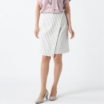 日本製★レジメンタルストライプラップ風スカート オフホワイト 58-87 61-89 64-91 67-93 70-95