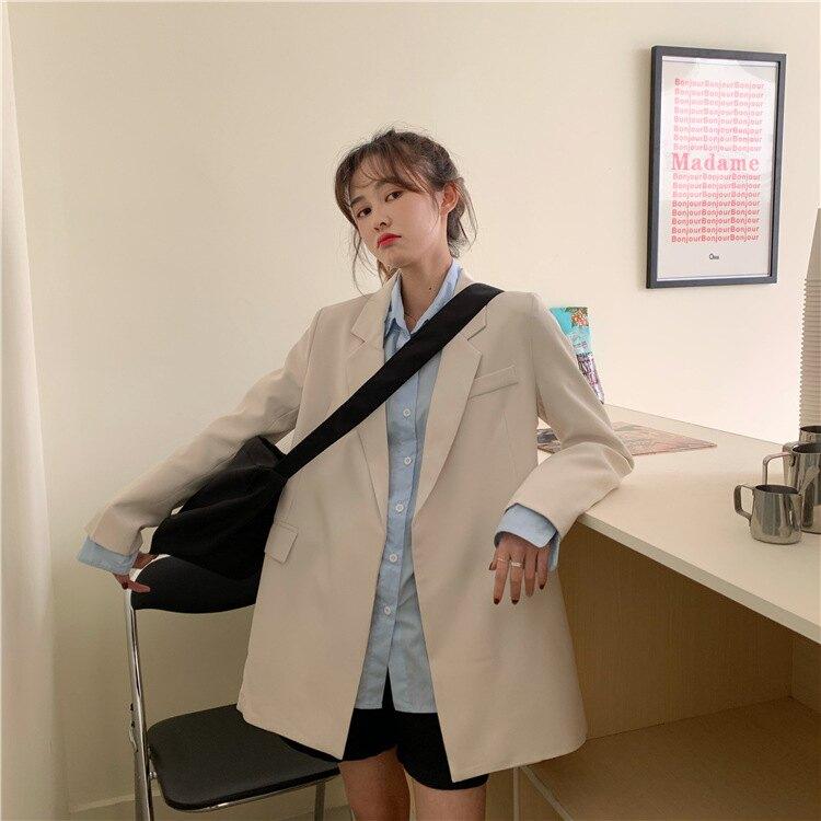 西裝外套休閒西服-純色繫帶收腰百搭女外套2色73xj1【獨家進口】【米蘭精品】