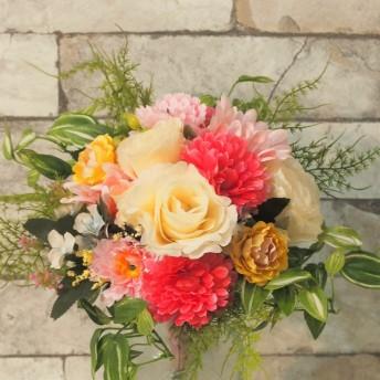 ウェディングパステルブーケ・ブートニアセット(造花) 結婚式 二次会 ナチュラル パーティ アートフラワー