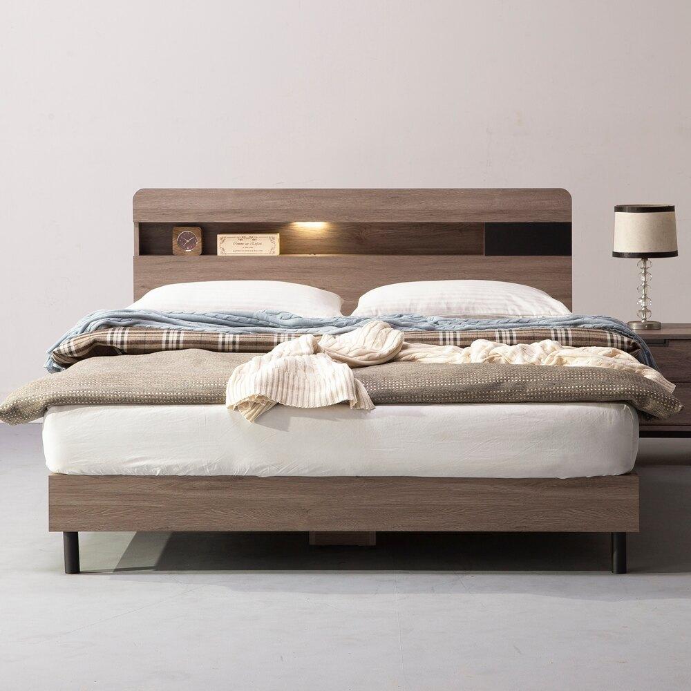 直人木業  KEN古橡木5尺平面床組  床頭加床底