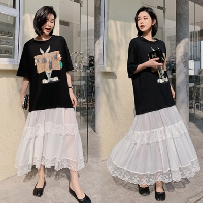 【韓國K.W.】(預購)時尚女人嬌豔航線蕾絲荷洋裝-1色
