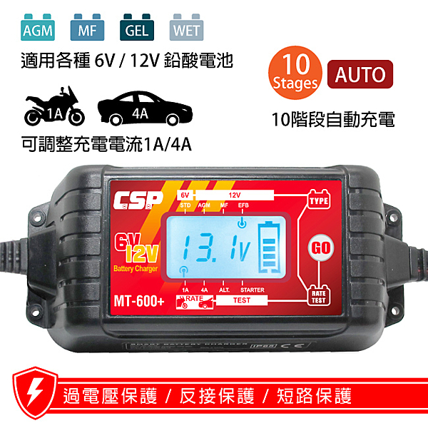 【CSP】MT600+多功能智慧型微電腦自動充電器(MT-600+) 6V 12V 電池用