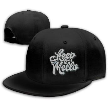 KAWAHATA Marsh-mello 人気 平らつば キャップ メンズ レディース 帽子 春 夏 綿100% サイズ調節可 野球帽 ヒップホップ風 登山 旅行 UVカット