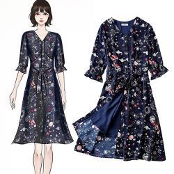 麗質達人 - 11076藍色印花洋裝