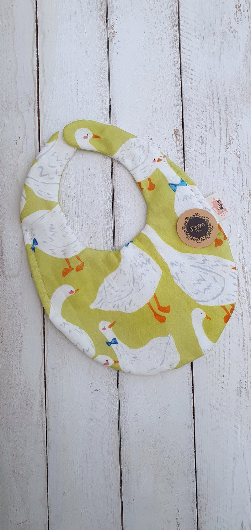 鵝-綠色-八層紗100%cotton雙面蛋型圍兜.口水巾