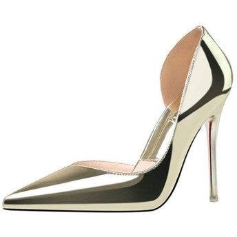 [QIAGE] ハイヒール パンプス フォーマル ポインテッドトゥ ピンヒール 結婚式 パーティー 美脚 ヒール10cm 通勤 ブラック 黒 オフィス 靴 ヒール 痛くない 歩きやすい ゴールド おしゃれ 痛くない 22.0cm ぺたんこ エレガント 婦人