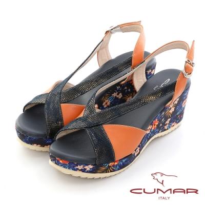 【CUMAR】異材質拼接復古交叉楔型厚底涼鞋-橘色