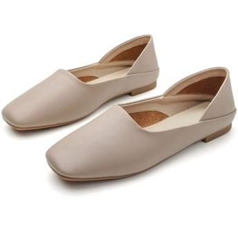 [JGFI] レディースシューズ パンプス スムース 甲深 シンプル ぺたんこ フラットシューズ 婦人靴 美脚 持ち運び 歩きやすい 柔らかい 楽ちん カジュアルシューズ ローヒール パンプス ベージュ 24.0cm グレージュ スクエアトゥ 幅広