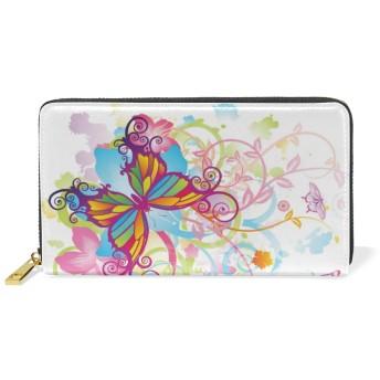 JOJOBABA 長財布 おしゃれ 抽象的な蝶 フローラル 財布 人気 本革 かわいい 大容量 ファスナー 小銭入れ コインケース