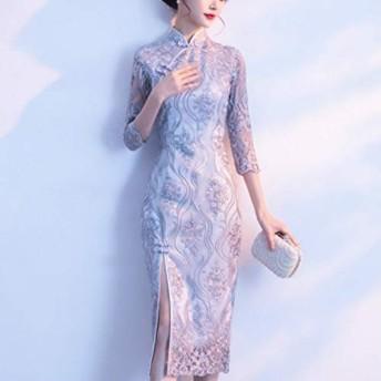 ドレス チャイナドレス、サイズの改善HYF凛とした雰囲気:XL(ピンク) (色 : Silver Grey, Size : XXL)