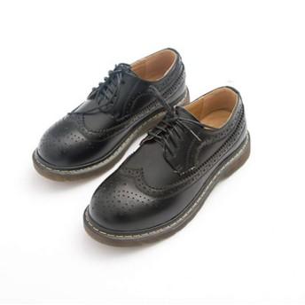 [NUOMK] オックスフォード ウイングチップ レディース 通学 通勤 レースアップ パンプス シューズ ブラック 靴 おじ靴 ヒール カジュアル 女性 用 マーチンシューズ 23.5cm ポストマンシューズ エンジニアシューズ カジュアルシューズ