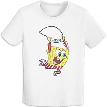 Qrwlkj スポンジボブ Spongebob SPONGE BOB Tシャツ メンズ 半袖 綿100% インナーシャツ 肌着 スポーツ シャツ 下着 軽い 柔らかい 快適 カジュアル おしゃれ メンズ 服 春 夏 秋 冬