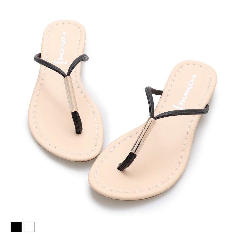 涼鞋-夏日韓風金屬夾腳拖鞋