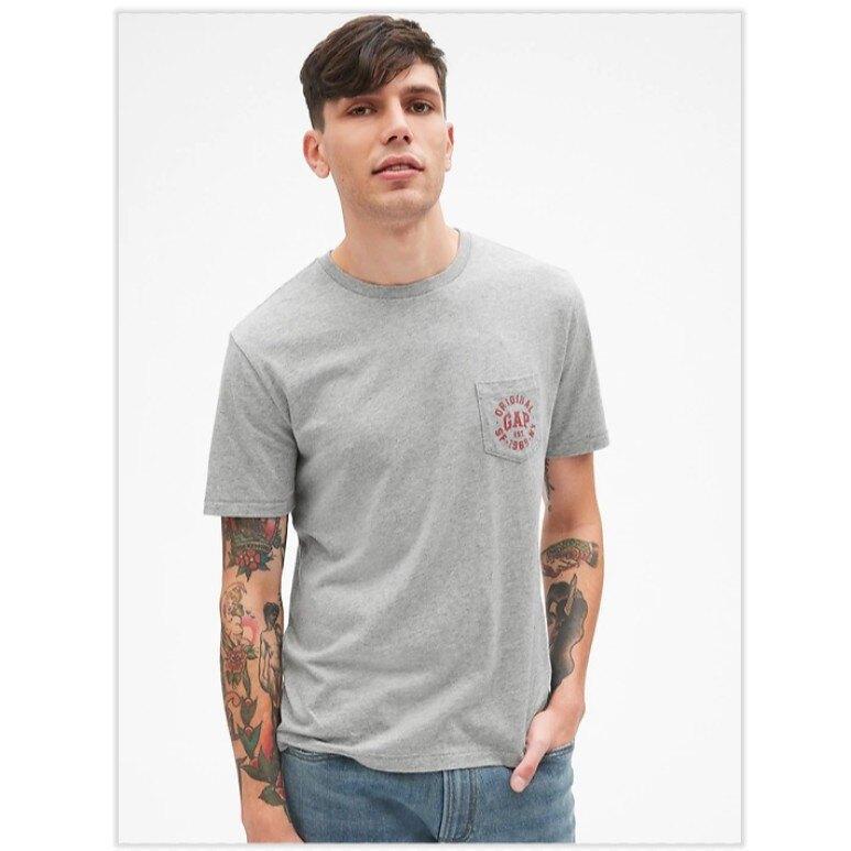 GAP 短袖T恤 男裝 T恤 短袖 短T-Shirt 圓領上衣 G400714 灰色(現貨)