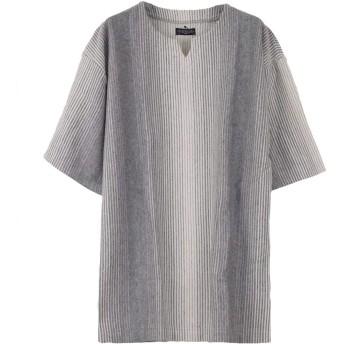 (ラグタイム セレクト) Ragtime Select ストライプTシャツ メンズ 半袖 ワイドシルエット オーバーサイズ ルーズ ビッグシルエット Q020227-07 グレー M