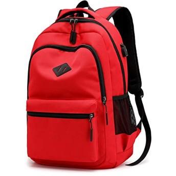 Zhoufulanawf 男女兼用のための偶然のバックパックの再充電可能なバックパックの学生用バッグの無地の防水バックパック (Color : Red, Size : 314515cm)