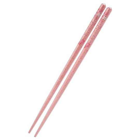小禮堂 美樂蒂 日製壓克力鑽天然木筷子《粉》21cm.環保筷.燦爛櫻花系列